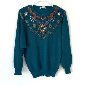 Jeweled Turquoise Sweater